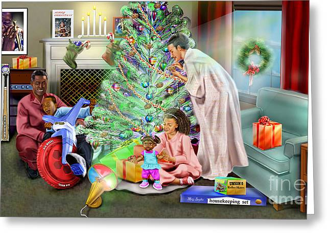 Christmas Back In Da Day Greeting Card by Reggie Duffie