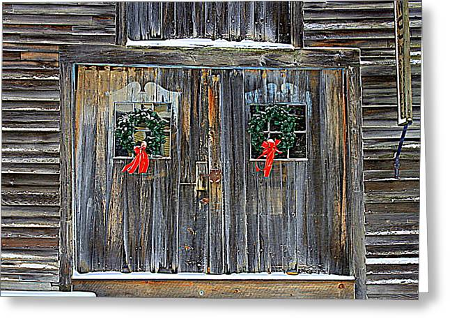 Christmas Barn Doors Greeting Card