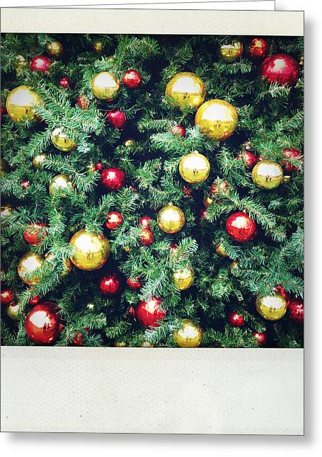 Christmas Baubles Greeting Card by Les Cunliffe