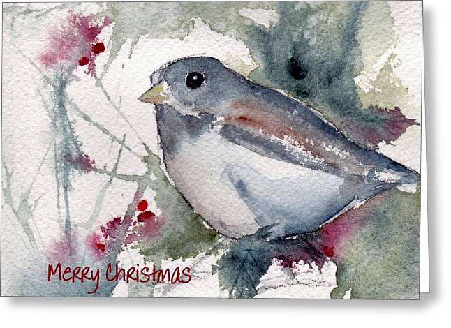Greeting Card featuring the painting Christmas Birds 01 by Anne Duke