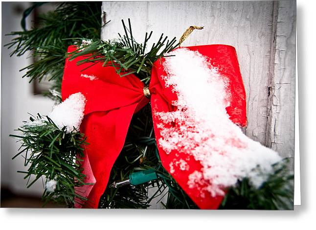 Christmas Bow  Greeting Card by Nickaleen Neff