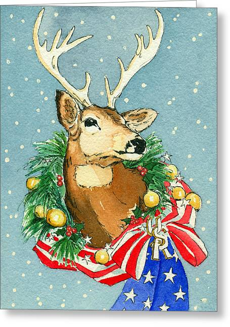 Greeting Card featuring the painting Christmas Buck by Katherine Miller
