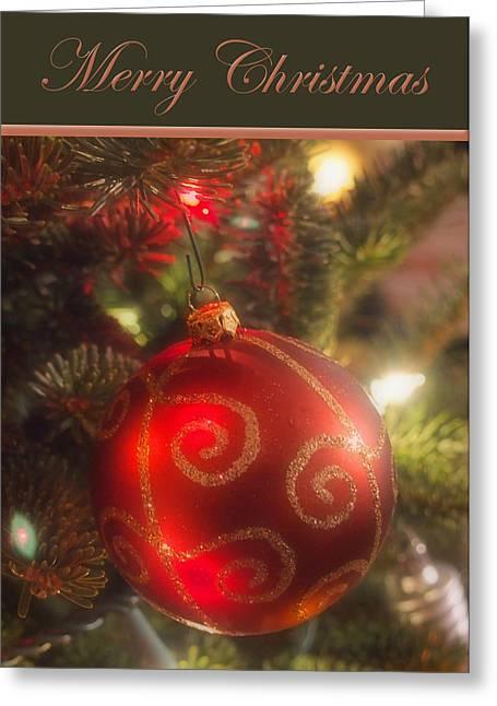 Christmas Bulb Card 2 Greeting Card by Joann Vitali