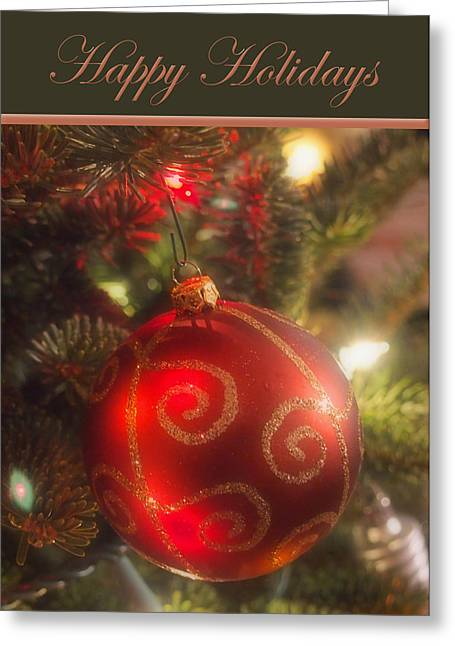 Christmas Bulb Card Greeting Card by Joann Vitali