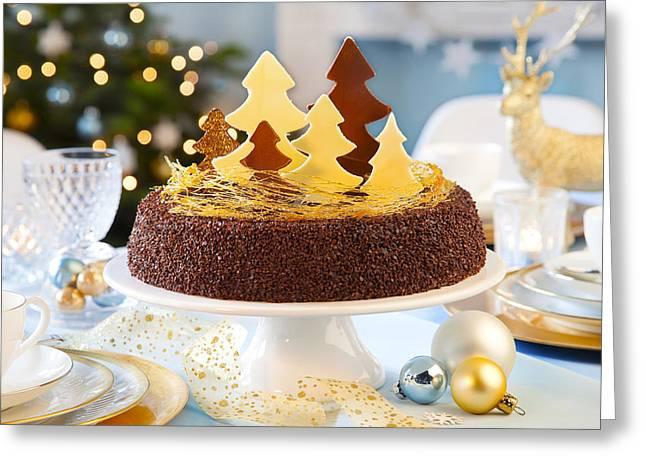 Christmas Cake Greeting Card by Doc Braham