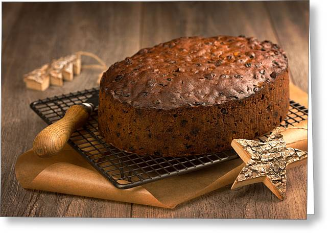 Christmas Cake With Knife Greeting Card by Amanda Elwell