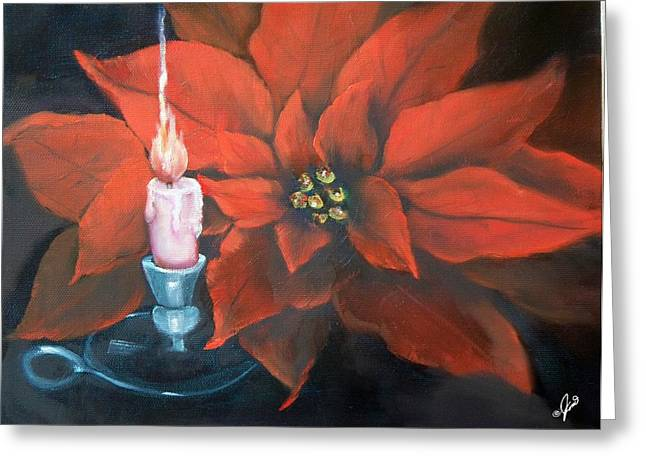 Greeting Card featuring the painting Christmas Candle For Baby Jesus by Joni McPherson