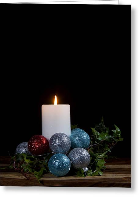 Greeting Card featuring the photograph Christmas Candle2 by Cecil Fuselier