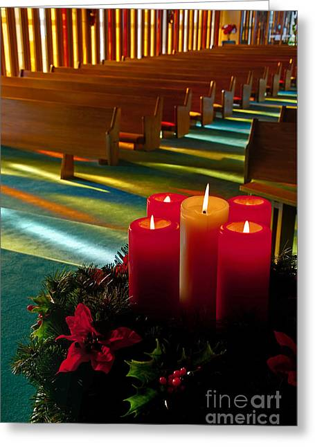 Greeting Card featuring the photograph Christmas Candles At Church Art Prints by Valerie Garner