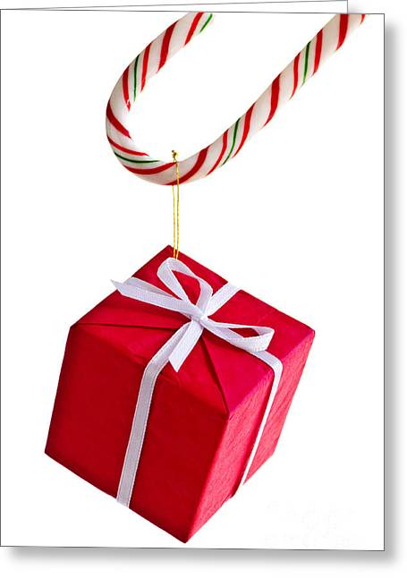 Christmas Candy Cane And Present Greeting Card