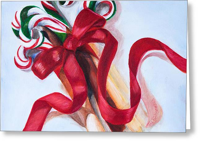 Christmas Candycanes Greeting Card by Iris Richardson