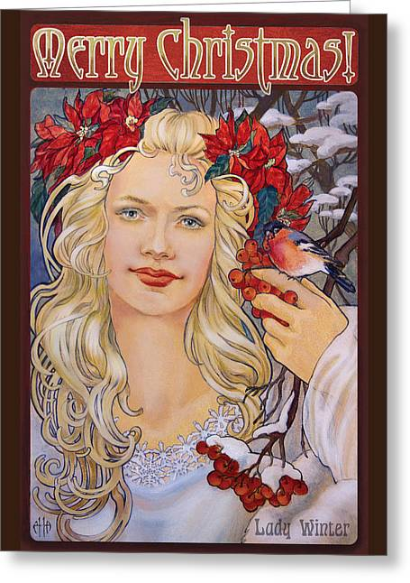 Christmas Card Art Nouveau Style Greeting Card by Irina Effa