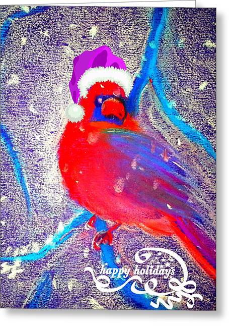 Christmas Card Cardinal In Snow Greeting Card by Sue Jacobi