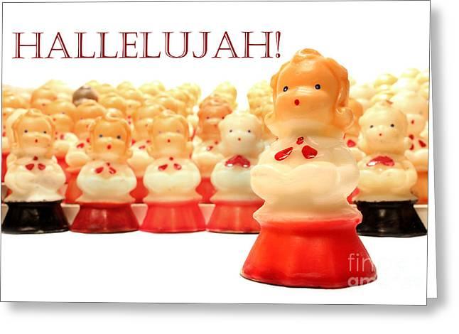Christmas Card Choir Candles Figurines Greeting Card by Adam Long