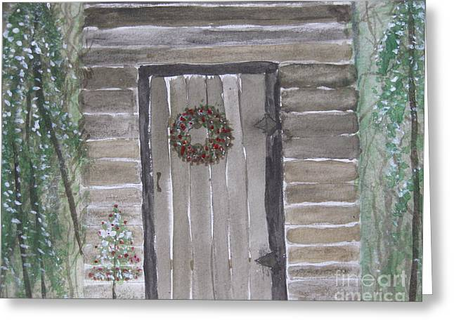 Christmas Card No.3 Rustic Cabin Greeting Card