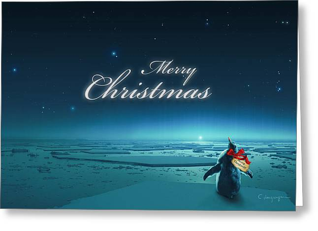 Christmas Card - Penguin Turquoise Greeting Card by Cassiopeia Art