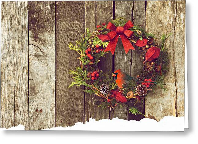 Christmas Cardinal. Greeting Card by Kelly Nelson