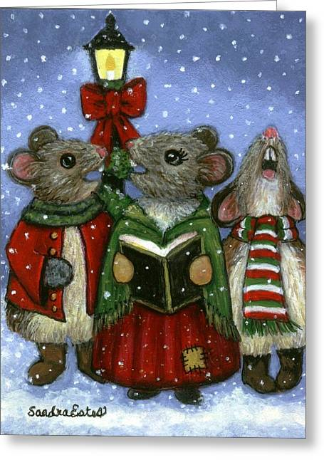 Christmas Caroler Mice Greeting Card