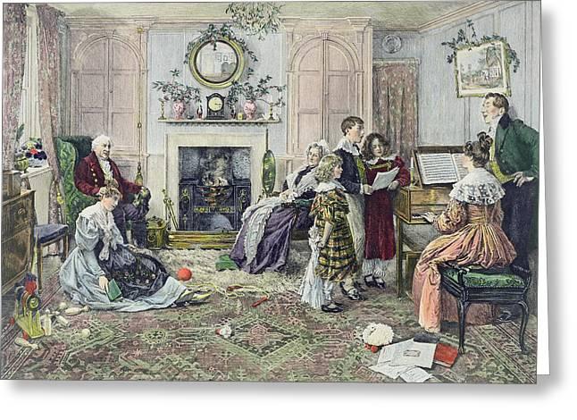 Christmas Carols Greeting Card by Walter Dendy Sadler