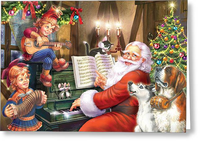 Christmas Carols Greeting Card by Zorina Baldescu