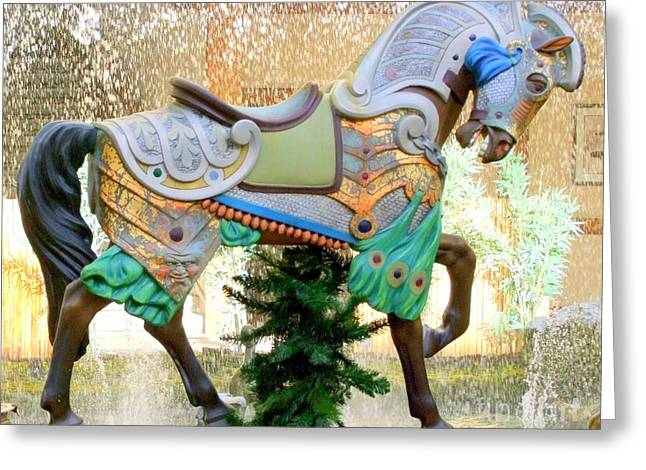 Christmas Carousel Warrior Horse-1 Greeting Card by Mary Deal