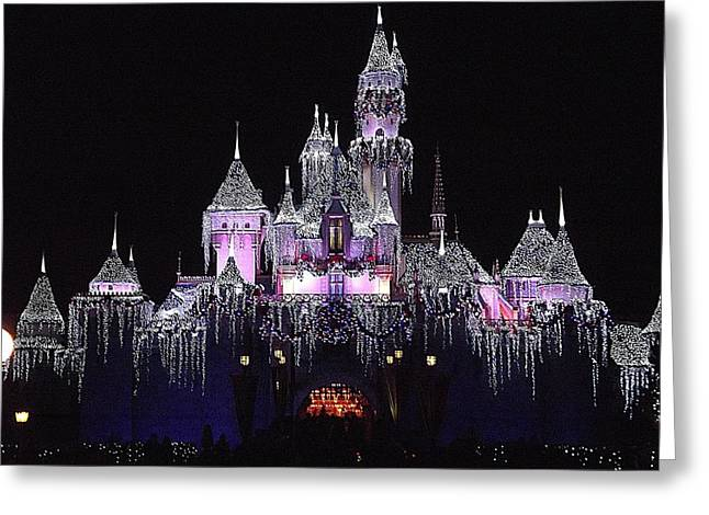 Christmas Castle Night Greeting Card
