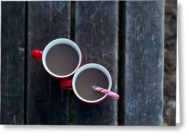 Christmas Coffee Cup With Candy Cane Greeting Card by Aldona Pivoriene
