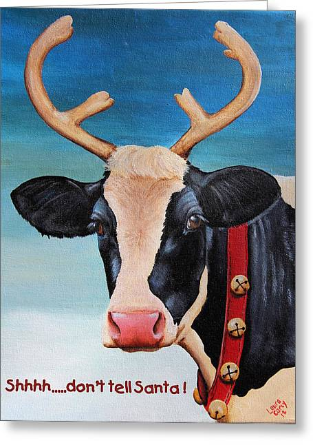 Christmas Cow Greeting Card by Laura Carey