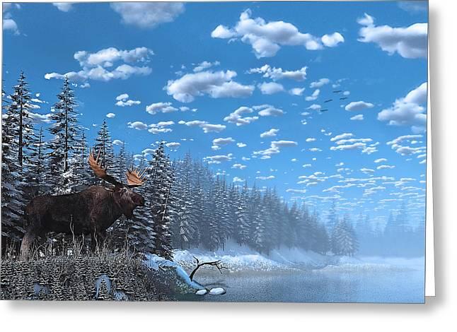 Christmas Day At Moose Lake Greeting Card by Ken Morris