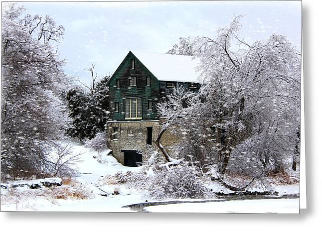 Christmas Day At The Grist Mill Greeting Card