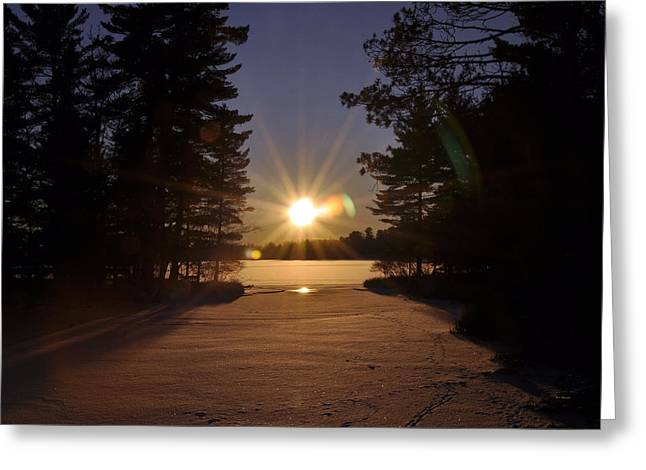 Christmas Day Sunset Greeting Card by RJ Martens