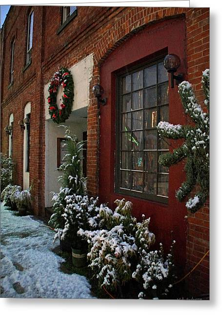 Christmas Decorations In Grants Pass Old Town  Greeting Card by Mick Anderson