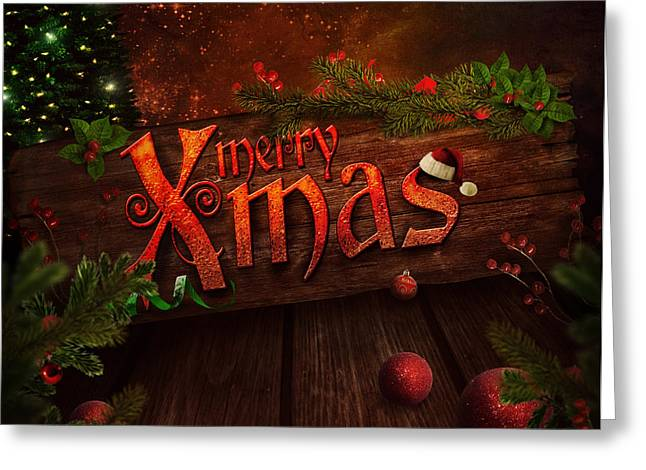 Christmas Design - Xmas Sign Greeting Card by Mythja  Photography