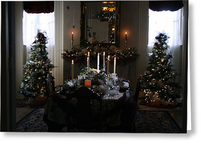 Christmas Dinner At The Mansion Greeting Card by Kay Novy