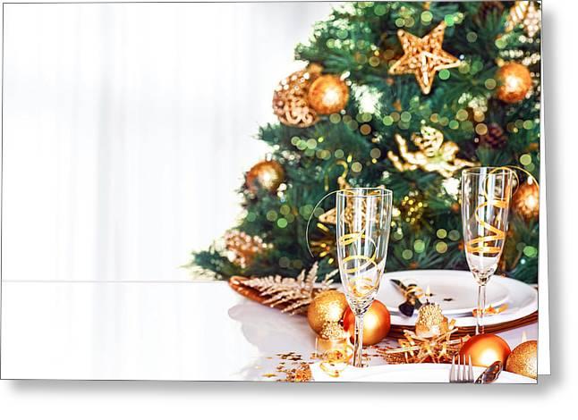 Christmas Dinner Border Greeting Card by Anna Om