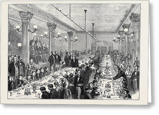 Christmas Dinner Given To The Newsboys Of Manchester 1874 Greeting Card by English School