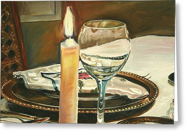 Christmas Dinner With Place Setting Greeting Card by Jennifer Lycke