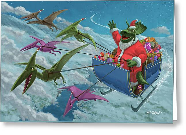 Christmas Dinosaur Santa Ride Greeting Card by Martin Davey