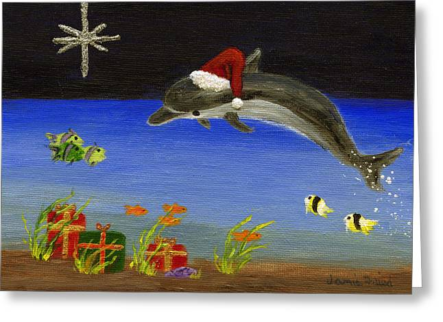 Christmas Dolphin And Friends Greeting Card by Jamie Frier