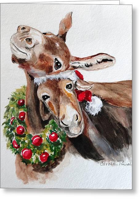 Christmas Donkeys Greeting Card by Carole Powell
