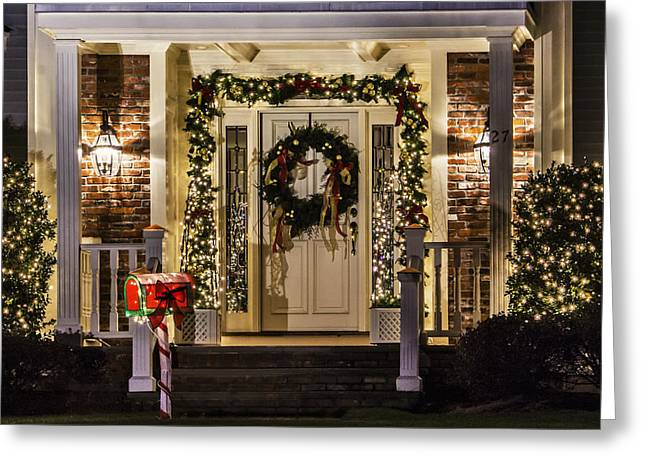 Greeting Card featuring the photograph Christmas Door 1 by Betty Denise