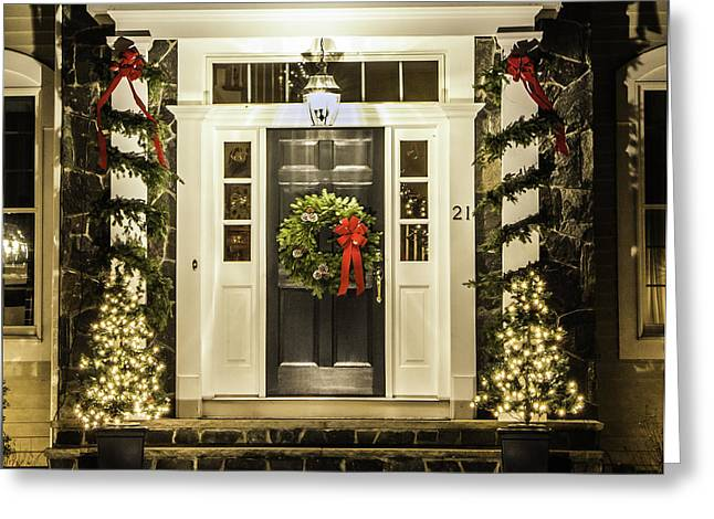Greeting Card featuring the photograph Christmas Door 2 by Betty Denise