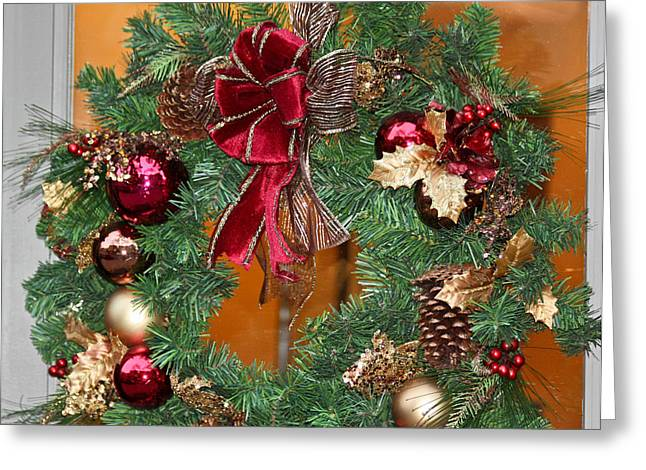 Greeting Card featuring the photograph Christmas Door Wreath by Ann Murphy
