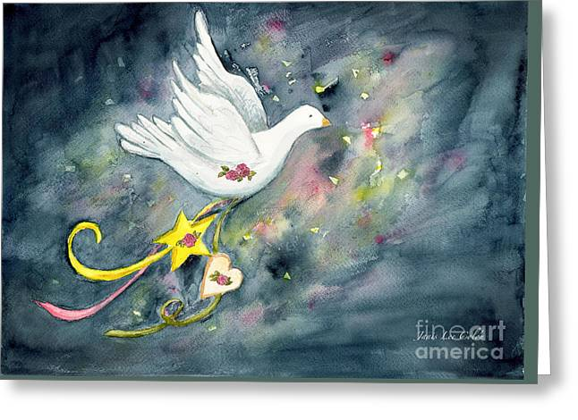 Christmas Dove In Flight Greeting Card