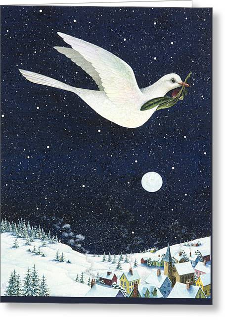 Christmas Dove Greeting Card by Lynn Bywaters