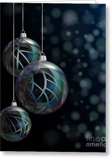 Christmas Elegant Glass Baubles Greeting Card by Jane Rix