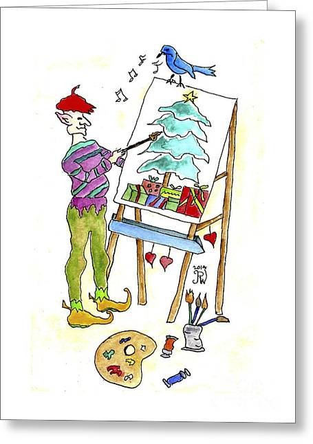 Christmas Elf Artie Greeting Card by Paula Joy Welter