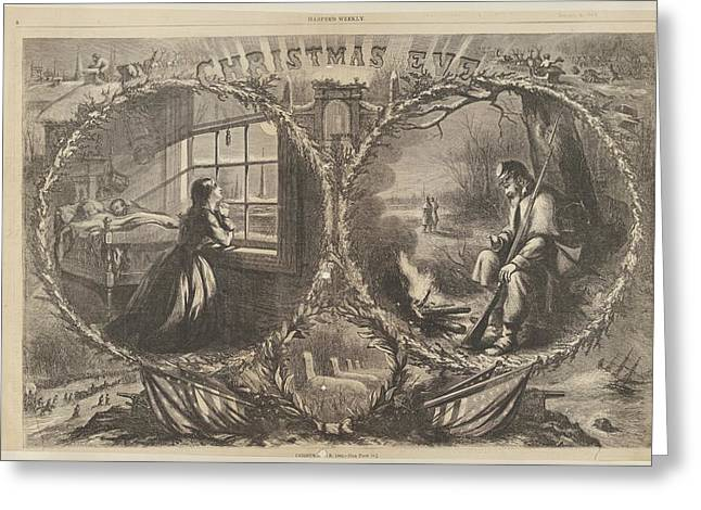 Christmas Eve, 1862 From Harpers Weekly Greeting Card by Thomas Nast
