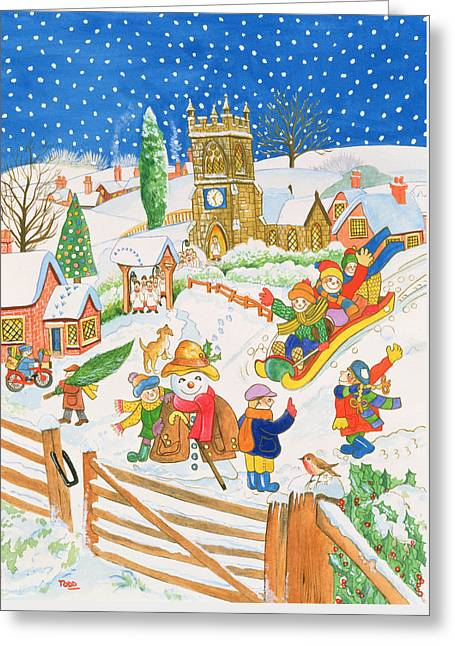 Christmas Eve In The Village Greeting Card by Tony Todd