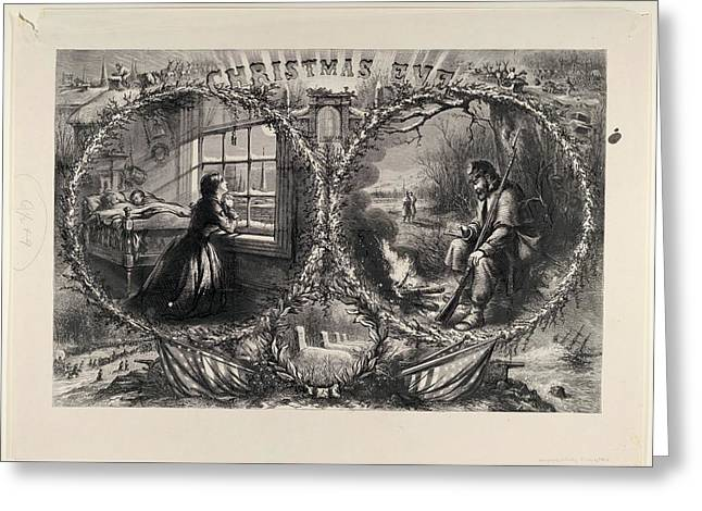 Christmas Eve Published Harpers Weekly Greeting Card by Thomas Nast
